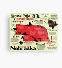 Nebraska National Parks Infographic Map Metal Print