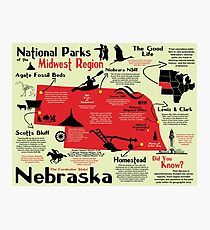 Nebraska National Parks Infographic Map Photographic Print