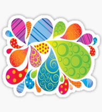 Brightly Patterned Water Splashes  Sticker