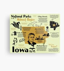 Iowa National Parks Infographic Map Metal Print
