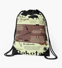South Dakota National Parks Infographic Map Drawstring Bag