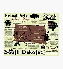 South Dakota National Parks Infographic Map Photographic Print