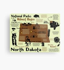 North Dakota National Parks Infographic Map Metal Print