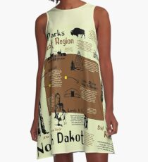 North Dakota National Parks Infographic Map A-Line Dress