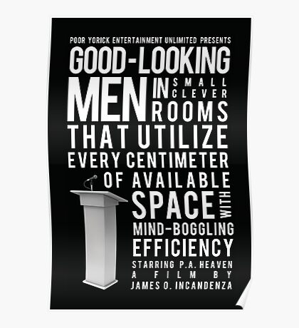 Good-Looking Men in Small Clever Rooms That Utilize Every Centimeter of Available Space With Mind-Boggling Efficiency Poster