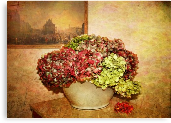 Vintage  Hydrangeas  by Irene  Burdell