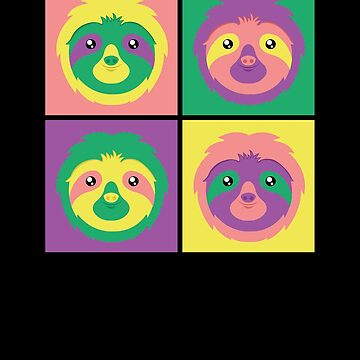 Retro Funky Colourful Sloth - Cute Tree Dweller by PrintPress