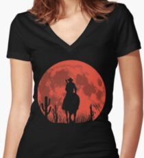 RED DEAL REDEMPTION 2 -RED MOON COWBOY T-SHIRT Women's Fitted V-Neck T-Shirt