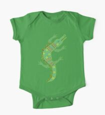 Green crocodile with floral pattern One Piece - Short Sleeve