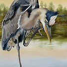 Great Blue Heron On The Jordan River by Phyllis Beiser