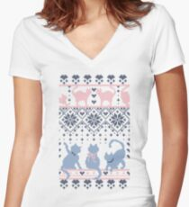 Fair Isle Knitting Cats Love // dark violet background white and violet kitties and details Women's Fitted V-Neck T-Shirt