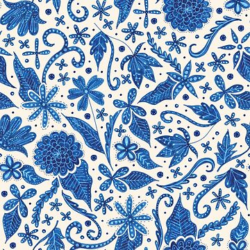 hand drawn blue floral pattern by swoldham