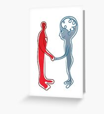 Body and mind shaking hands Greeting Card