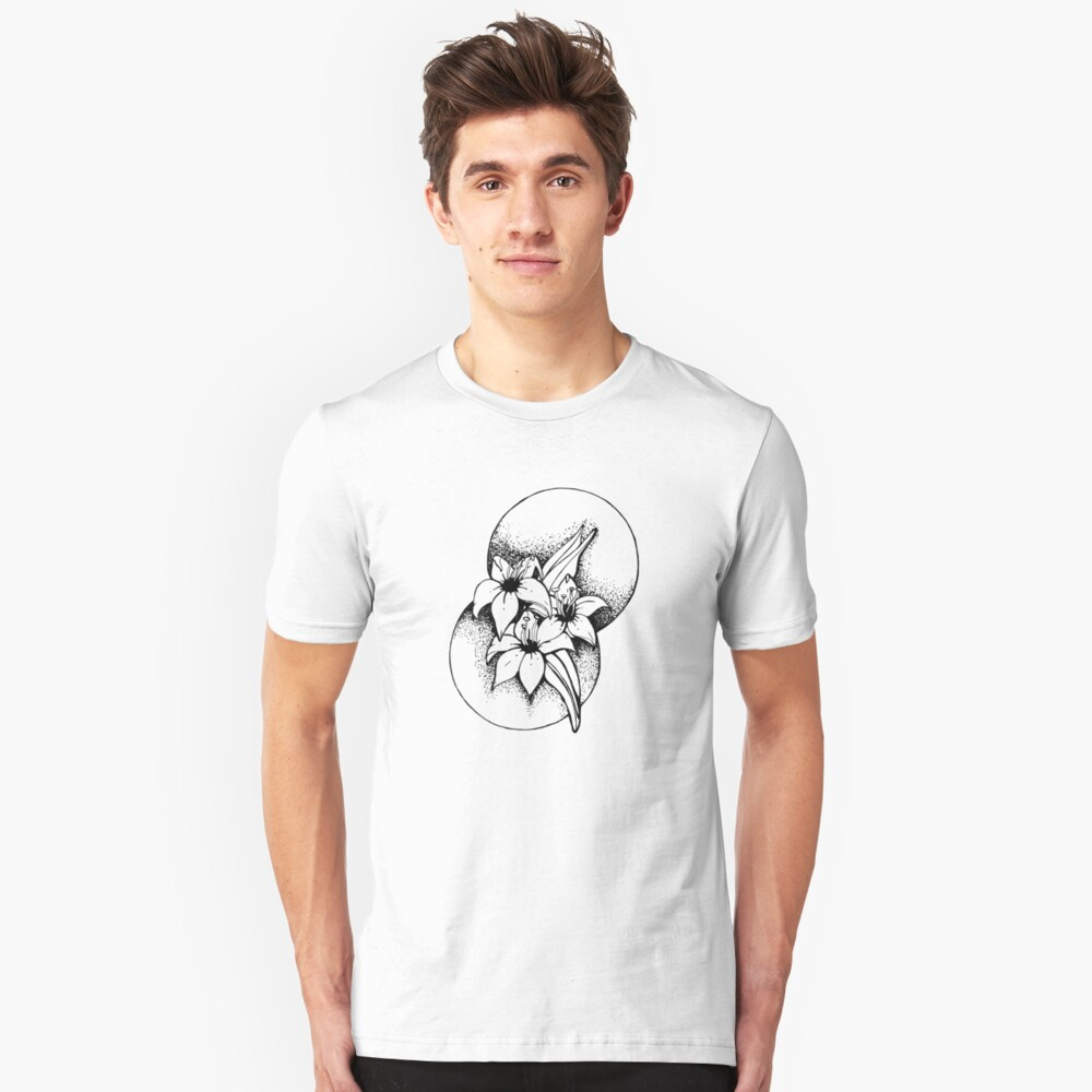 Black and white Lilies- Geometic Slim Fit T-Shirt