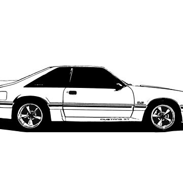 Ford Mustang GT (fox body) - profile stylized line  by mal-photography