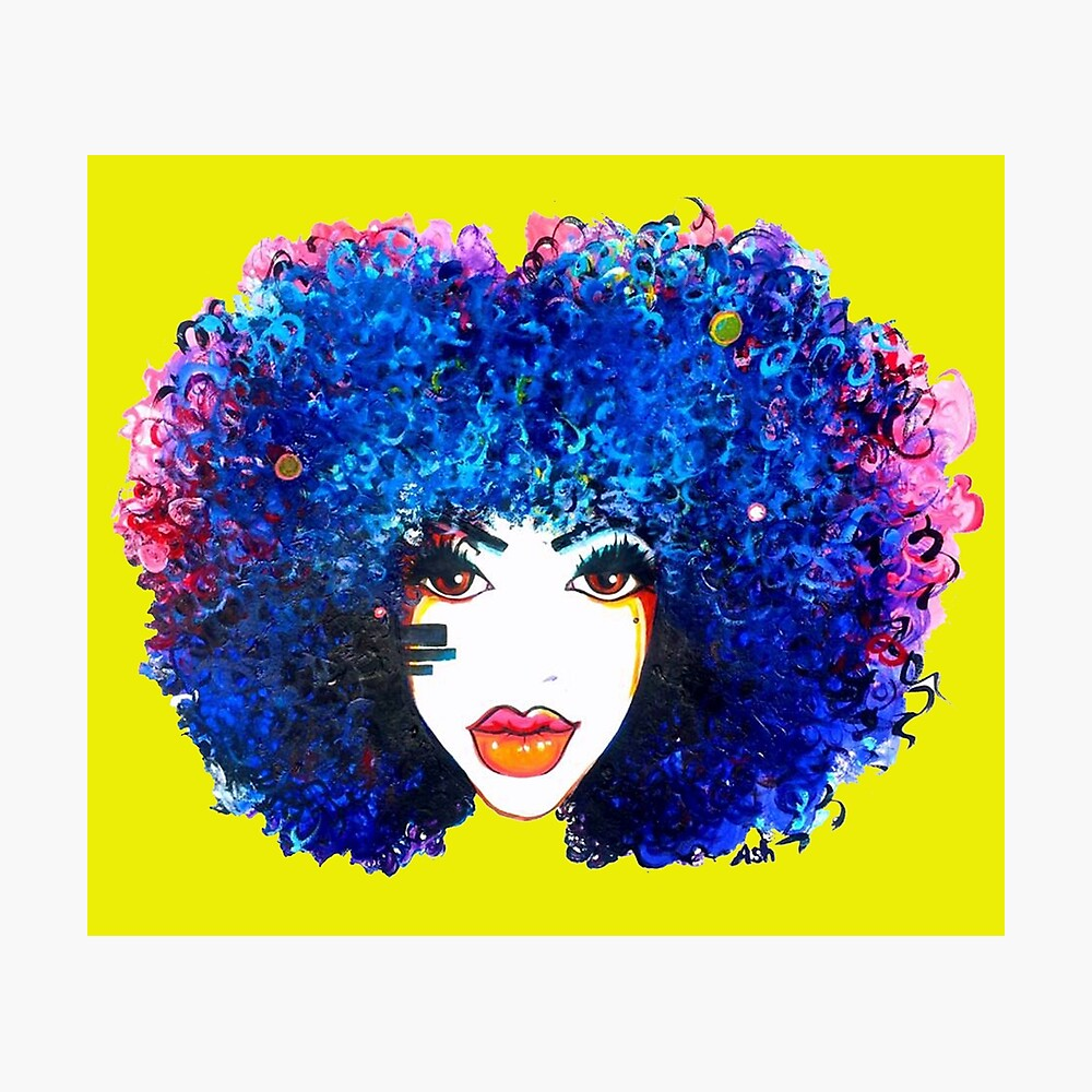 Blaues Afro-gelocktes Haar-Mädchen Brown mustert natürliche Haar-Königin Fotodruck