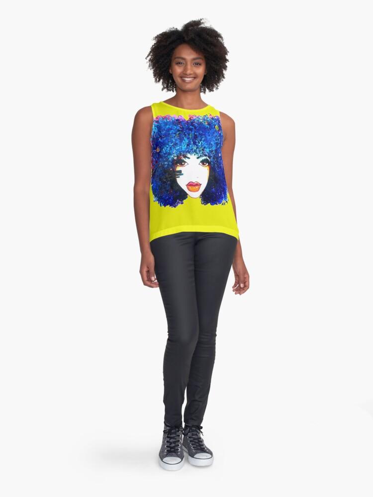 Alternative Ansicht von Blaues Afro-gelocktes Haar-Mädchen Brown mustert natürliche Haar-Königin Ärmelloses Top