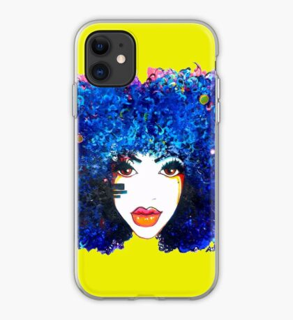 Blue Afro Curly Hair Girl Brown Eyes Natural Hair Queen  iPhone Case