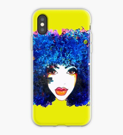 Blaues Afro-gelocktes Haar-Mädchen Brown mustert natürliche Haar-Königin iPhone-Hülle & Cover