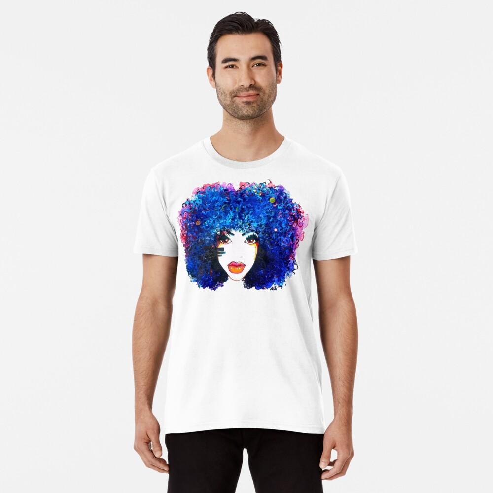Blaues Afro-gelocktes Haar-Mädchen Brown mustert natürliche Haar-Königin Premium T-Shirt