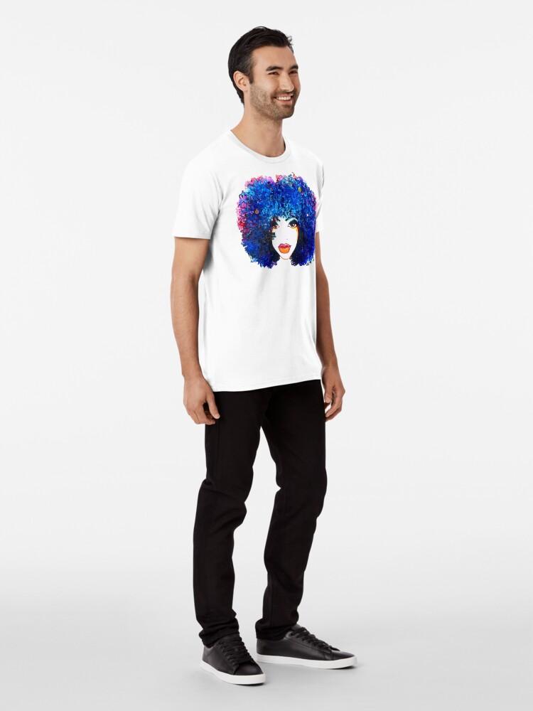 Alternative Ansicht von Blaues Afro-gelocktes Haar-Mädchen Brown mustert natürliche Haar-Königin Premium T-Shirt