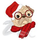 Pug in Christmas hat and glasses by features2018