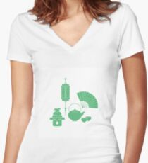 Chinese lantern, kettle, cups, fan, kagami mochi. Women's Fitted V-Neck T-Shirt