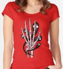 Bone hand with ghosts Women's Fitted Scoop T-Shirt