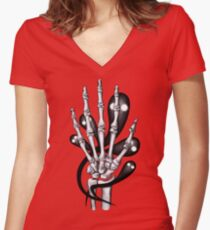 Bone hand with ghosts Women's Fitted V-Neck T-Shirt