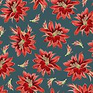 Red Christmas Cactus Flowers Dark Blue Floral Pattern by tanjica