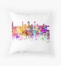 Peshawar  skyline in watercolor background Throw Pillow