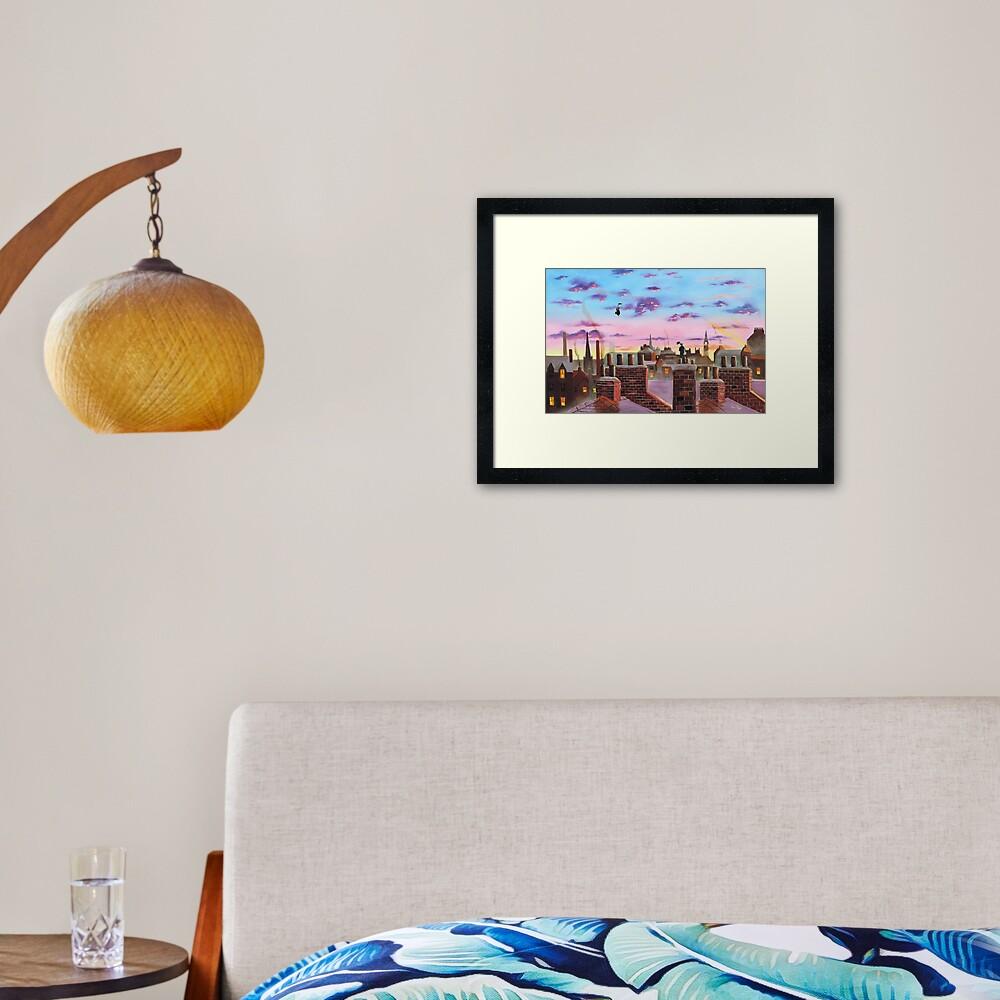 Mary Poppins and Bert  Framed Art Print