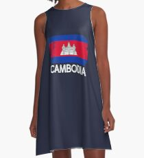 Cambodian Flag Design | Vintage Made In Cambodia Gift A-Line Dress