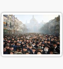 Antwerp, Belgium, a few hours after the Germans surrendered and an end of World War I. 11th November 1918 Sticker