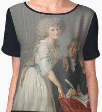 Portrait of Antoine-Laurent Lavoisier and his Wife #twopeople #20years #youngadult #40years #matureadult #adult #people #dress #furniture #veil #facialexpression #portrait #realpeople #Lavoisier  Chiffon Top