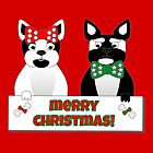 French Bulldog Christmas Couple by Barefoot Bodeez  Art