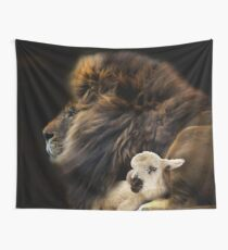 and the lion shall lie down with the lamb Wall Tapestry