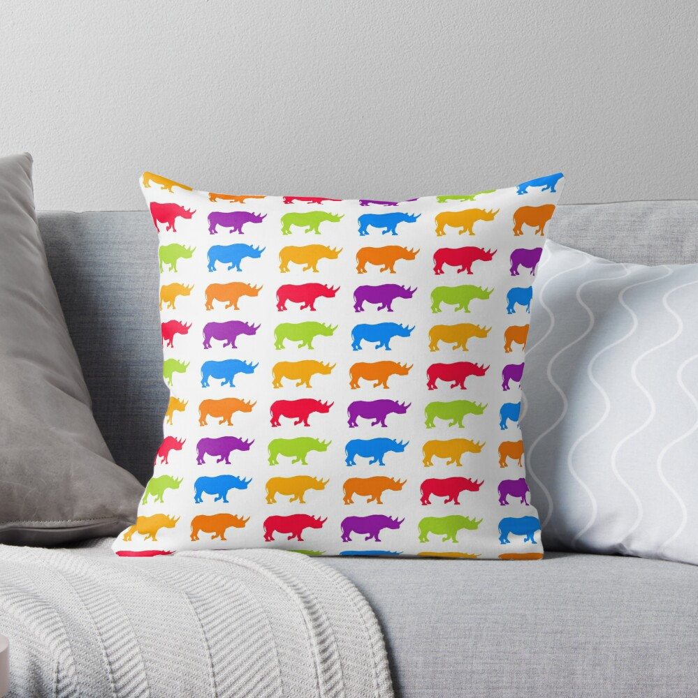 colorful rhino pattern Throw Pillow