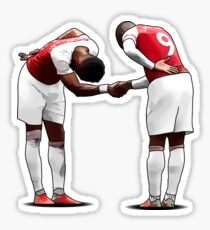 Illustration Alex Lacazette and Pierre-Emerick Aubameyang Inspired Handshake Celebration | Arsenal | Poster | Phone Case | Tablet | T Shirt | Pillow | Mug | Clock | Wall Art | Home Decor and more Sticker