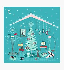 Retro Holiday Decorating Photographic Print