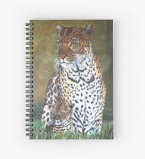 """""""Leopard and Cub"""" - Oil Painting Spiral Notebook"""