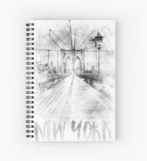 Monochrome Kunst NYC Brooklyn Bridge | Aquarell Spiralblock