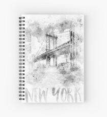 Monochrome Kunst NYC Manhattan Bridge | Aquarell Spiralblock