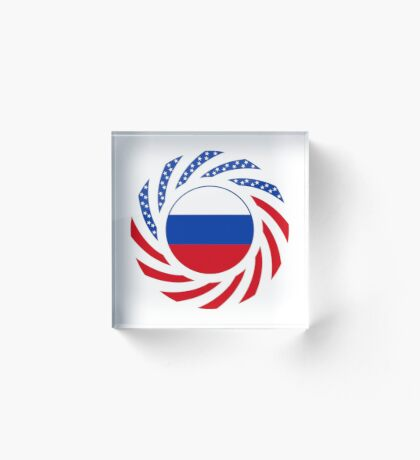 Russian American Multinational Patriot Flag Series Acrylic Block