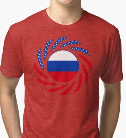 Russian American Multinational Patriot Flag Series Tri-blend T-Shirt