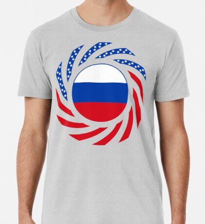 Russian American Multinational Patriot Flag Series Premium T-Shirt