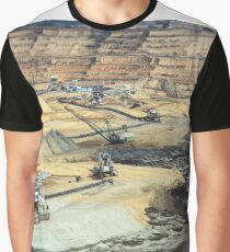 Giant excavators and heavy machinery working on opet pit coal mine Graphic T-Shirt