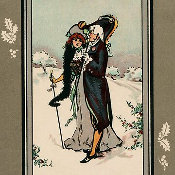 Vintage Victorian couple Xmas greetings by aapshop