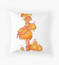 Inktober- Pumpkin Witch Throw Pillow