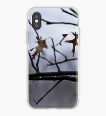 Winter Leaves with Water Drops iPhone Case